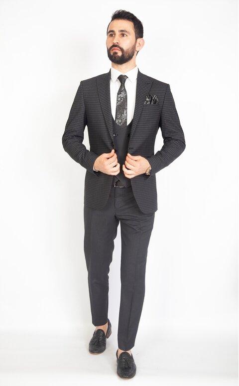 Antracitově šedý pánský oblek s vestou Slim Fit, model Luis