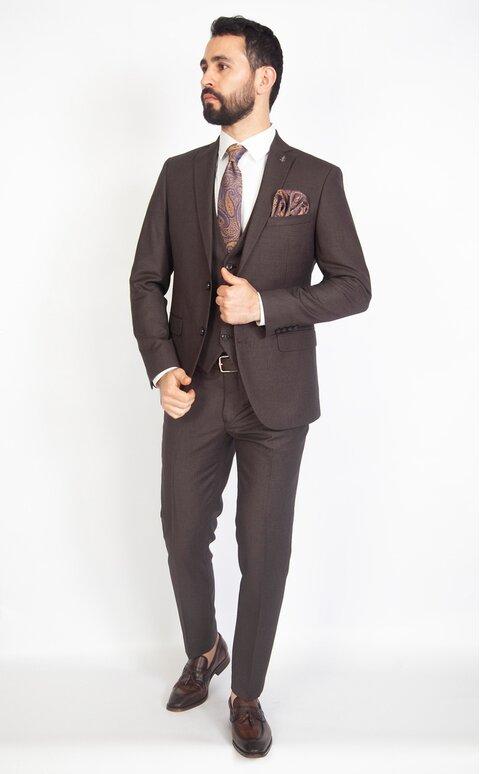 Hnědý pánský oblek Slim Fit s vestou, model Carter