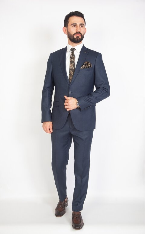 Modrý pánský oblek Slim Fit, model Lucas