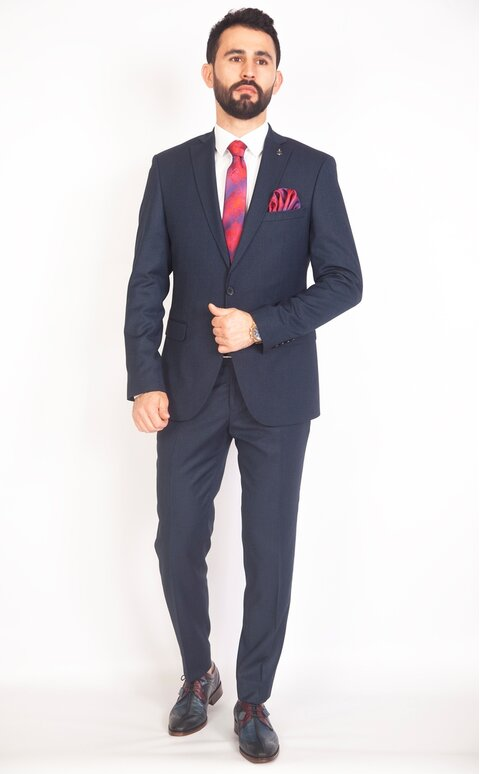 Modrý pánský oblek Slim Fit, model Stanley