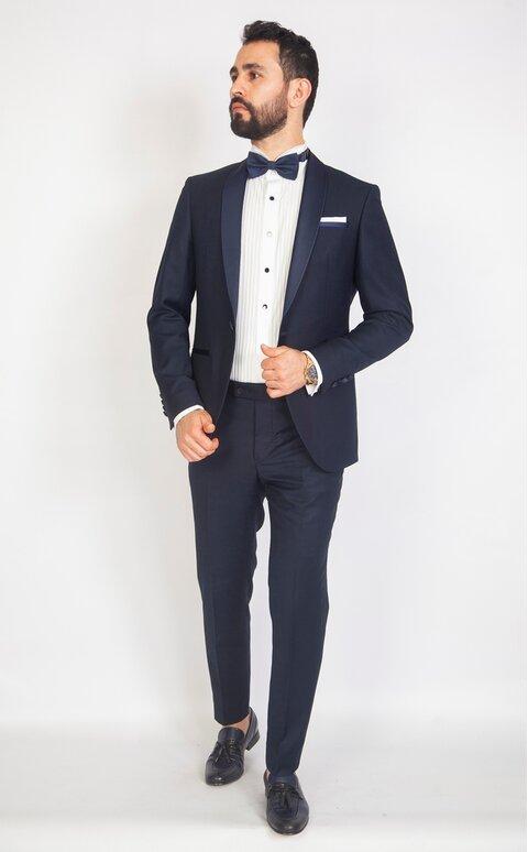 Modrý pánský smoking Slim Fit, model Leo