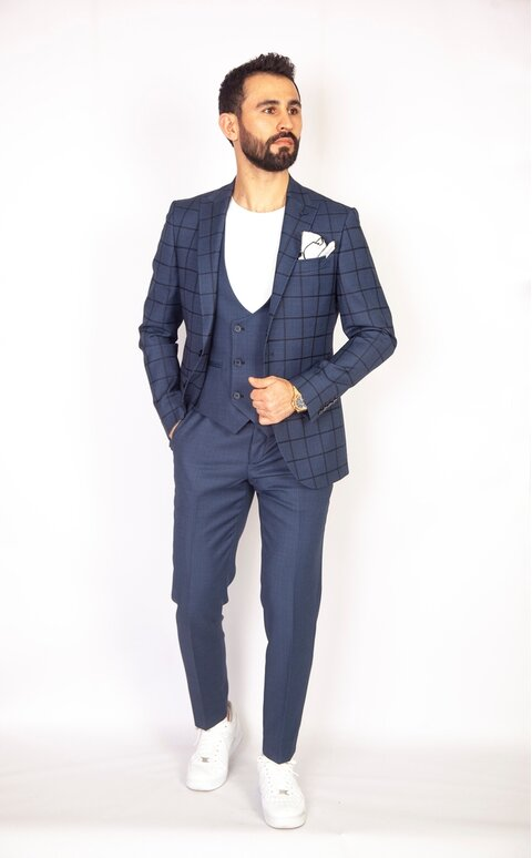 Modrý trojdílný pánský oblek Slim Fit, model Thomas