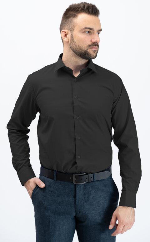 Pánská košile s dlouhým rukávem - černá