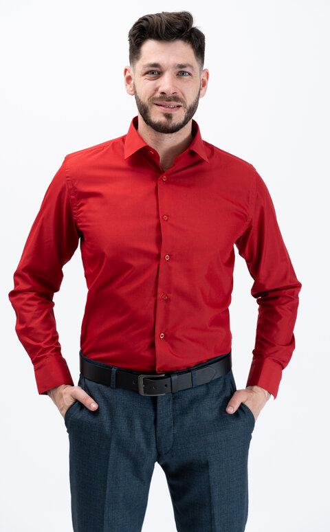 Pánská košile s dlouhým rukávem - červená