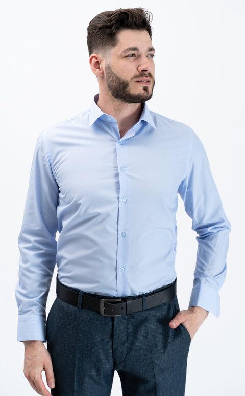 Pánská košile s dlouhým rukávem - pastelově modrá