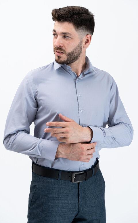 Pánská košile s dlouhým rukávem - stříbrošedá