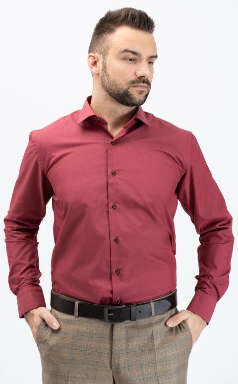 Pánská košile s dlouhým rukávem - vínová