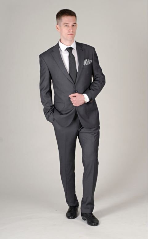 Šedý pánský oblek Regular Fit, model Jack