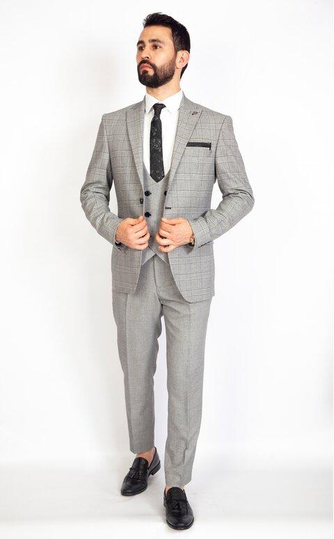 Šedý pánský oblek s vestou Slim Fit, model Adam