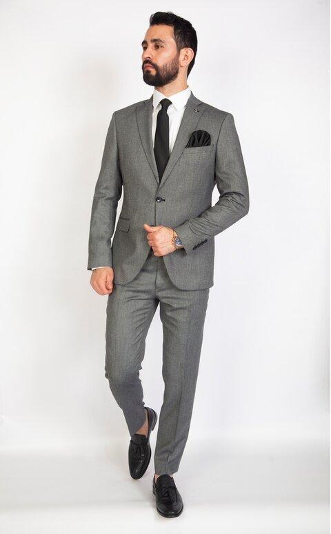 Šedý pánský oblek Slim Fit, model Oliver