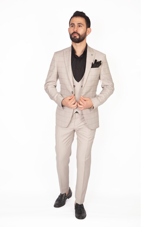 Trojdílný kostkovaný béžový pánský oblek Slim Fit, model Steven