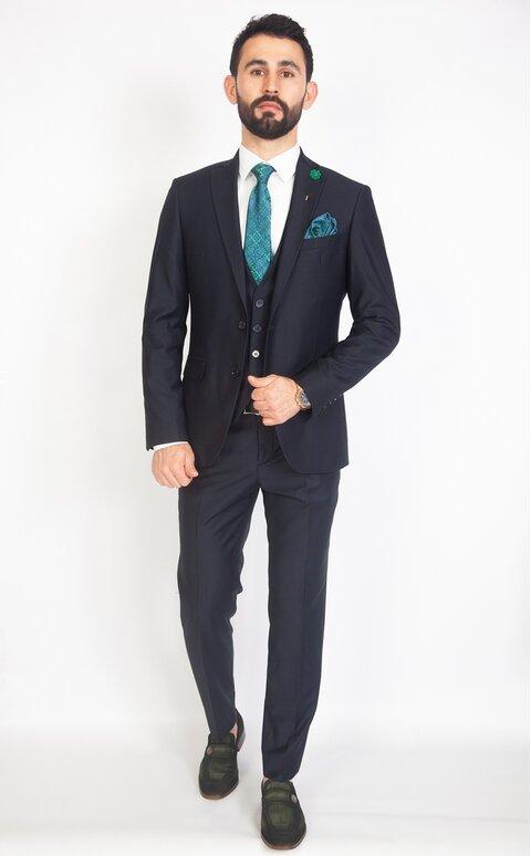 Trojdílný pánský tmavě modrý oblek Slim Fit, model Luigi