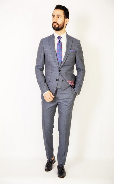 Trojdílný šedo-modrý pánský oblek Slim Fit, model Paul