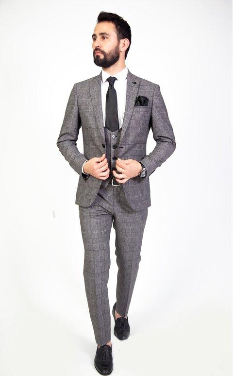 Trojdílný šedý pánský oblek Slim Fit, model Martin