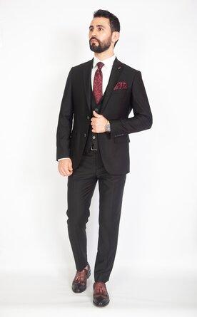 Černý pánský oblek Slim Fit s vestou, model George