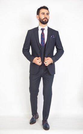 Modrý pánský oblek s vestou Slim Fit, model Alan