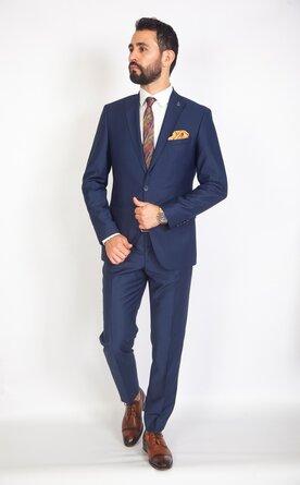Modrý pánský oblek Slim Fit, model Matteo