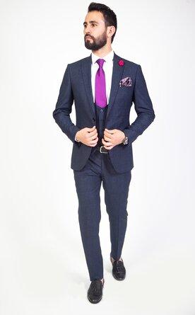 Modrý trojdílný pánský oblek Slim Fit, model Michael