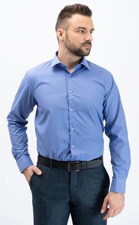 Pánská košile s dlouhým rukávem - modrofialová