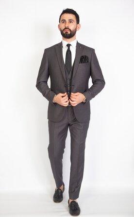Šedý pánský oblek s vestou Slim Fit, model Daniel