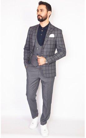 Šedý pánský oblek s vestou Slim Fit, model Richard