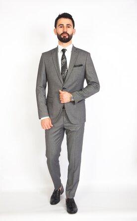 Šedý pánský oblek Slim Fit, model Vega