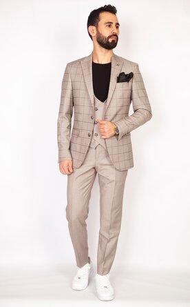 Trojdílný kostkovaný béžový pánský oblek Slim Fit, model Marco