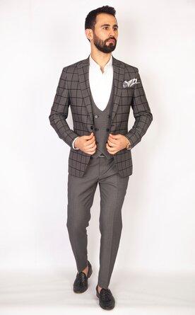 Trojdílný kostkovaný šedý pánský oblek Slim Fit, model Victor