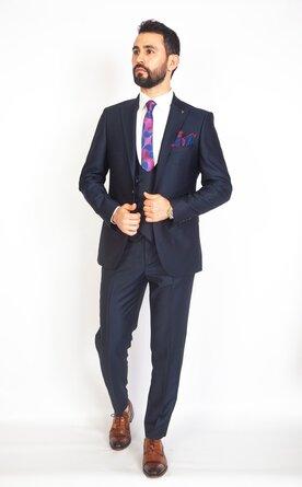 Trojdílný modrý pánský oblek Slim Fit, model Christian