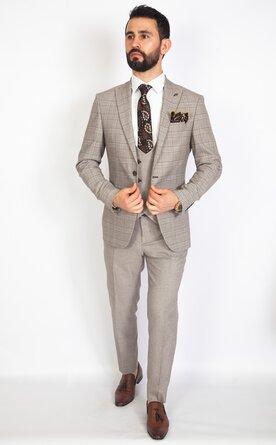 Trojdílný šedý pánský oblek Slim Fit, model Axel