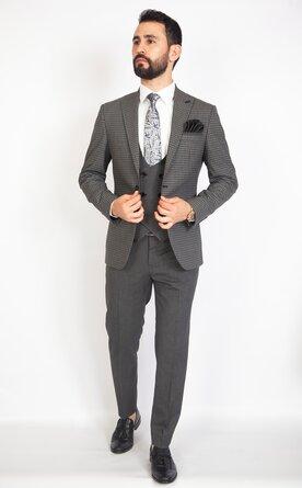 Trojdílný šedý pánský oblek Slim Fit, model Max